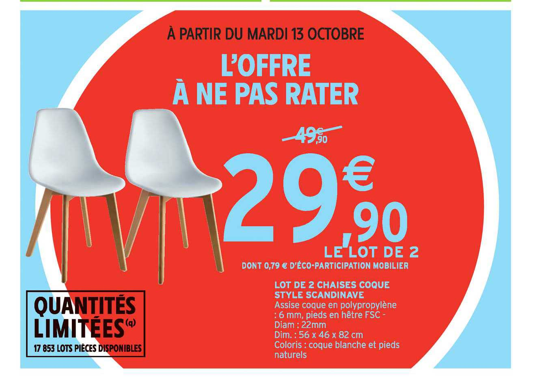 Intermarché Hyper Lot De 2 Chaises Coque Style Scandinave