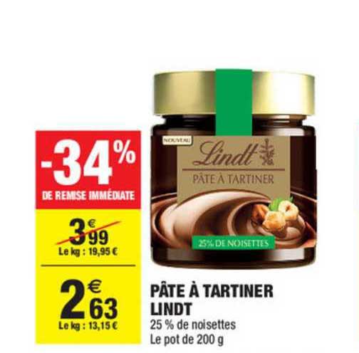 Carrefour Market Pâte à Tartiner Lindt -34% Remise Immédiate