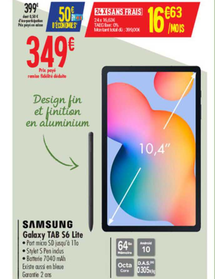 Offre Samsung Galaxy Tab S6 Lite chez Carrefour