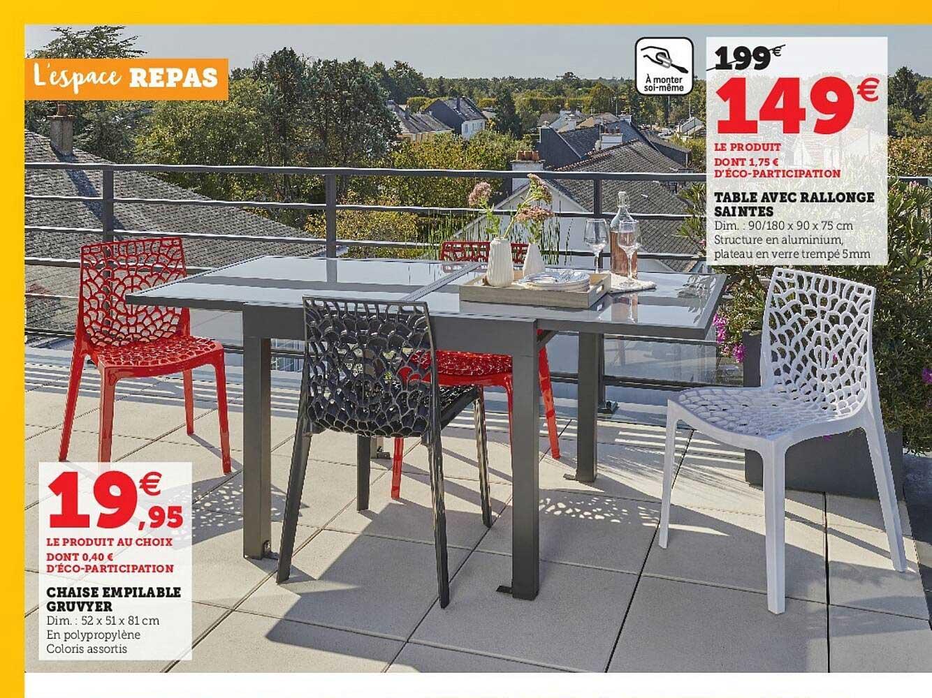 Super U Table Avec Rallonge Saintes, Chaise Empilable Gruvyer