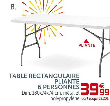 GiFi Table Rectangulaire Pliante 6 Personnes