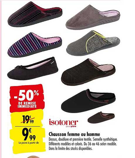 Carrefour Chausson Femme Ou Homme Isotoner -50% De Remise Immédiate