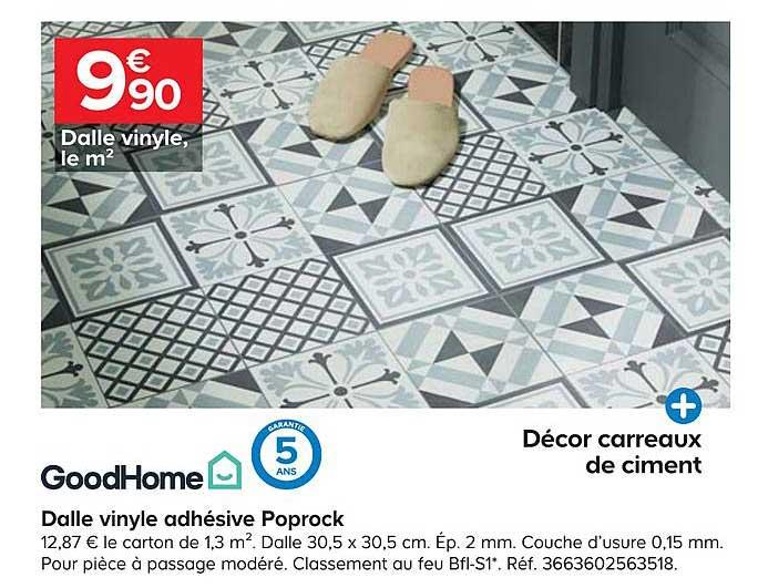 Offre Dalle Vinyle Adhesive Poprock Goodhome Chez Castorama