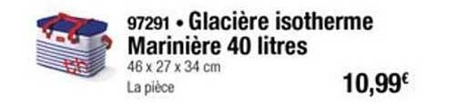 Thiriet Glacière Isotherme Marinière 40 Litres