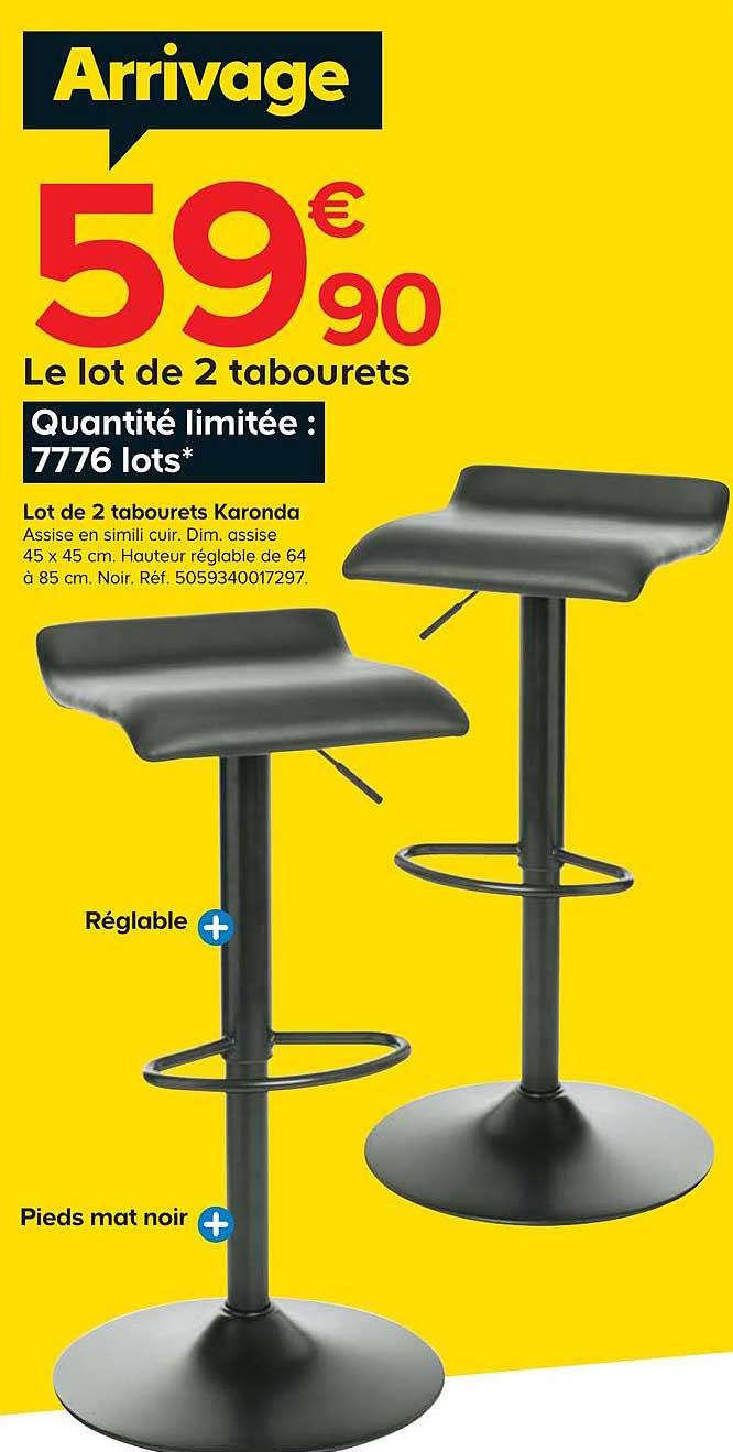 Offre Lot De 2 Tabourets Karonda Chez Castorama