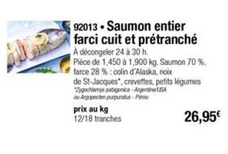 Thiriet Saumon Entier Farci Cuit Et Prétranché