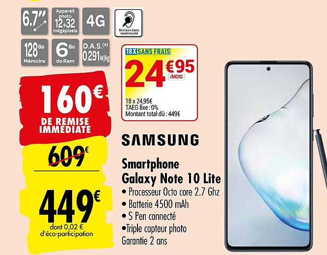 Carrefour Smartphone Galaxy Note 10 Lite Samsung