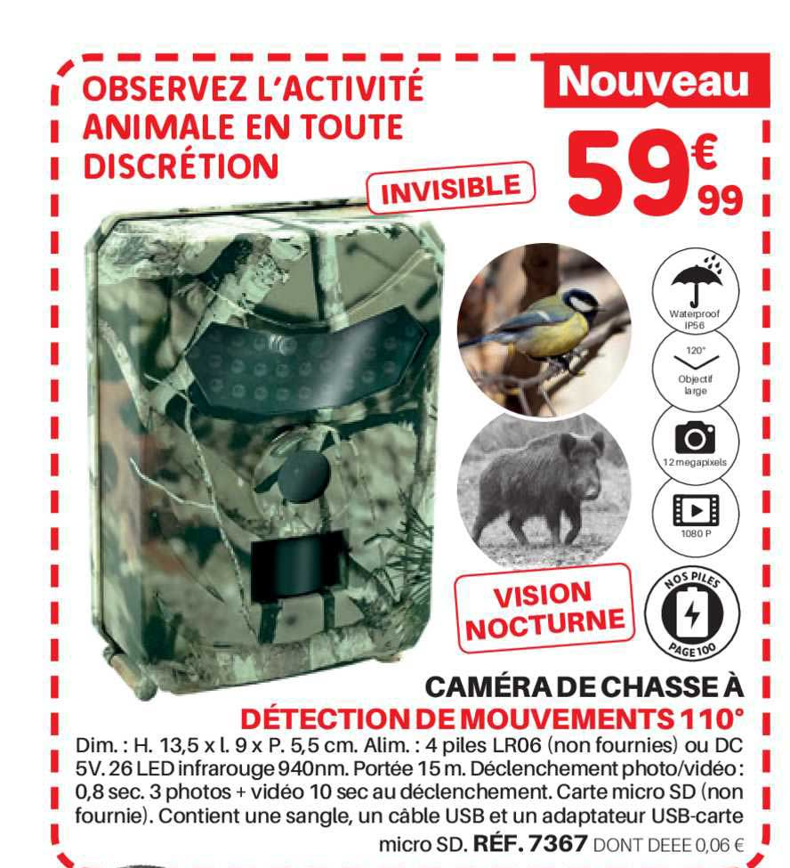 Shopix Caméra De Chasse à Détection De Mouvements 110°