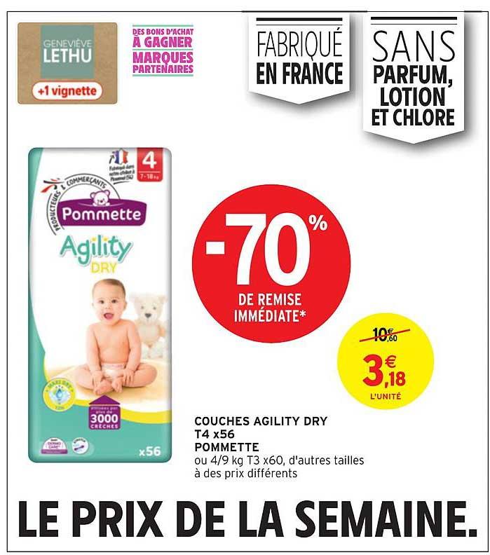 Intermarché Hyper Couches Agility Dry T4x56 Pommette -70% De Remise Immédiate