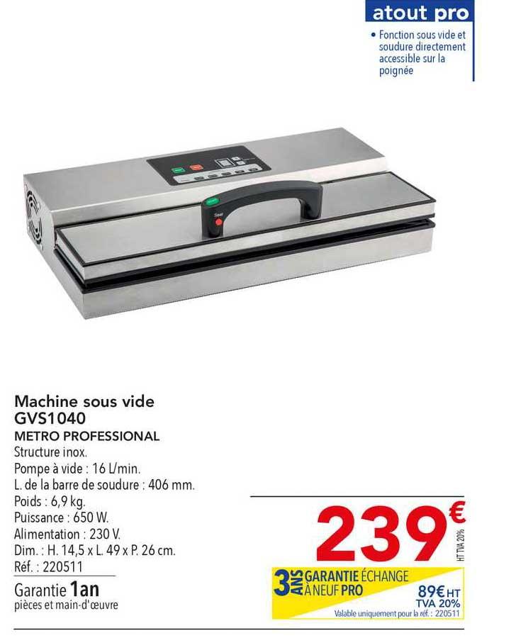 METRO Machine Sous Vide Gvs1040 Metro Professional