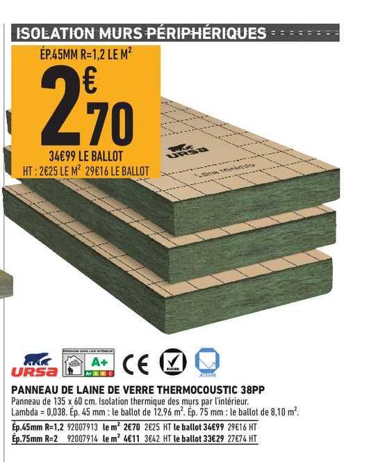 Brico Cash Panneau De Laine De Verre Thermocoustic 38pp Ursa