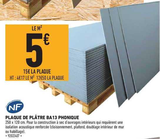 Brico Cash Plaque De Plâtre Ba13 Phonique Nf
