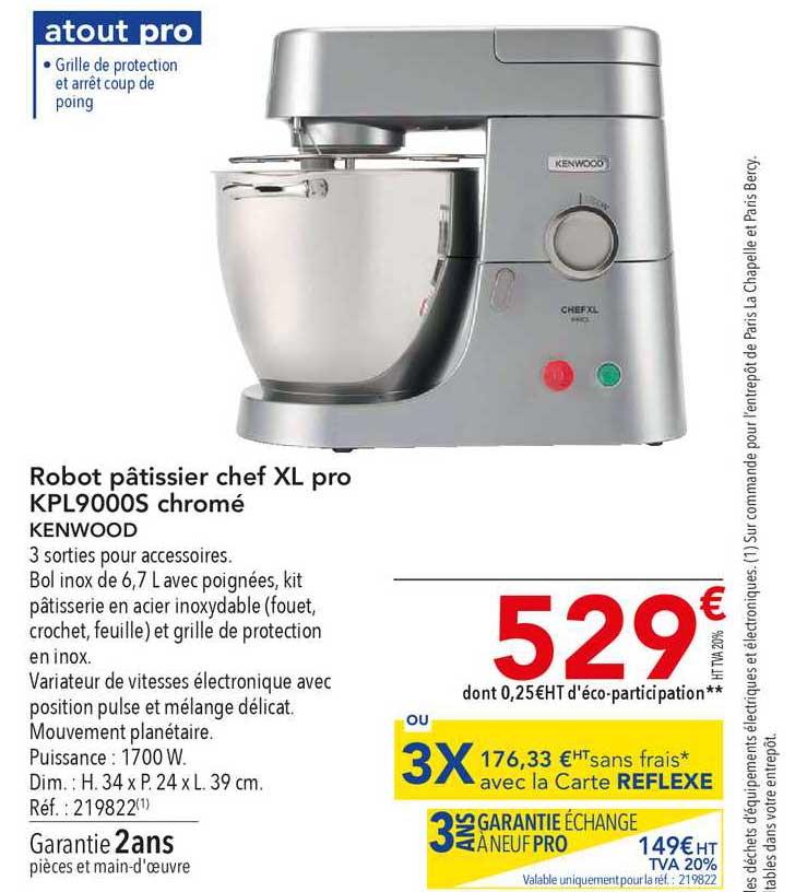 METRO Robot Pâtissier Chef Xl Pro Kpl9000s Chromé Kenwood