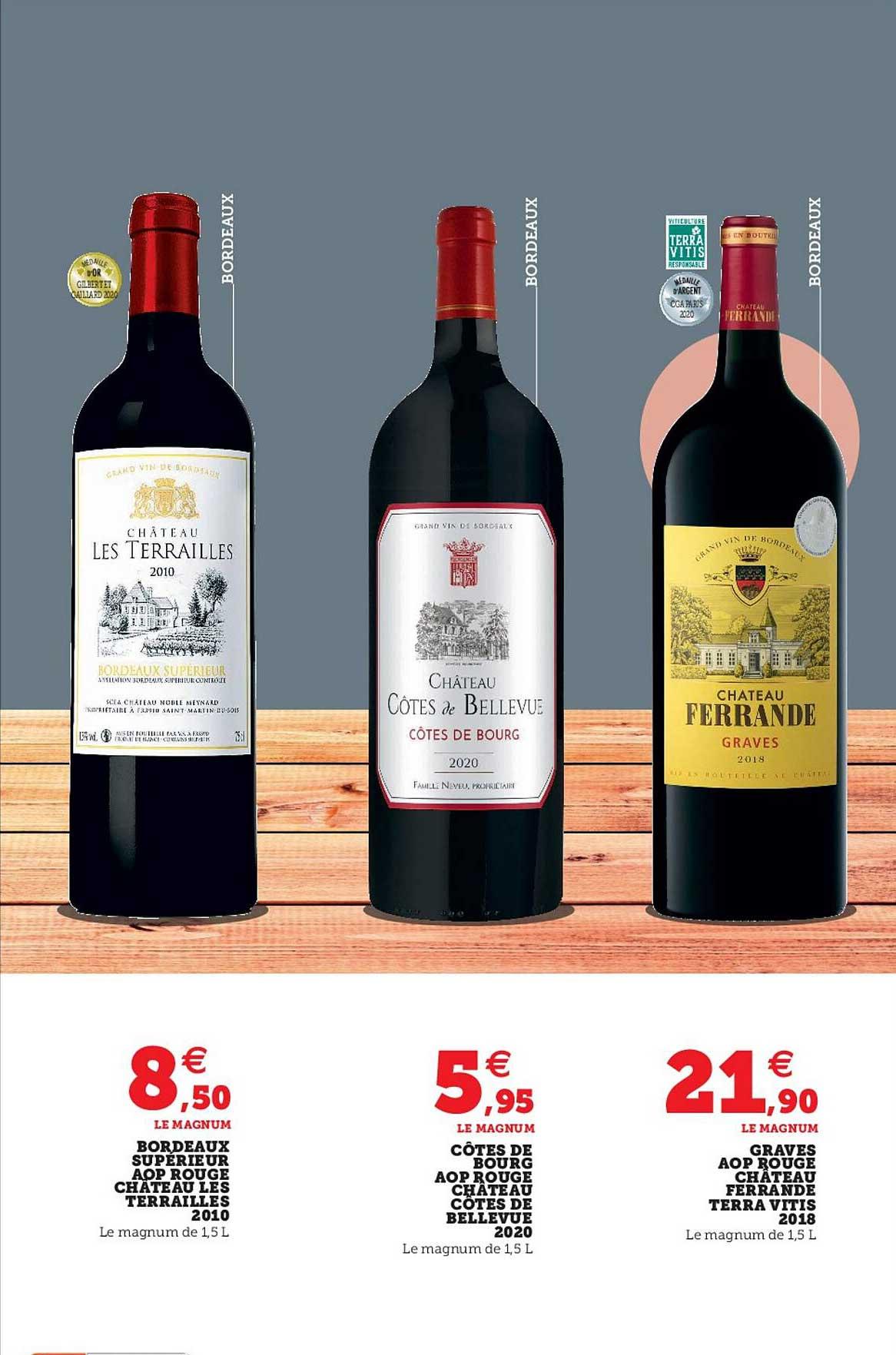 Super U Bordeaux Supérieur Aop Rouge Château Les Terrailles 2010, Côtes De Bourg Aop Rouge Château Côtes De Bellevue 2020, Graves Aop Rouge Château Ferrande Terra Vitis 2018