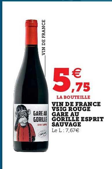 Super U Vin De France Vsig Rouge Gare Au Gorille Esprit Sauvage