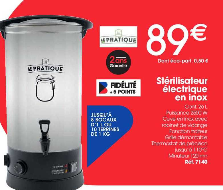 Brico Pro Stérilisateur électrique En Inox Le Pratique
