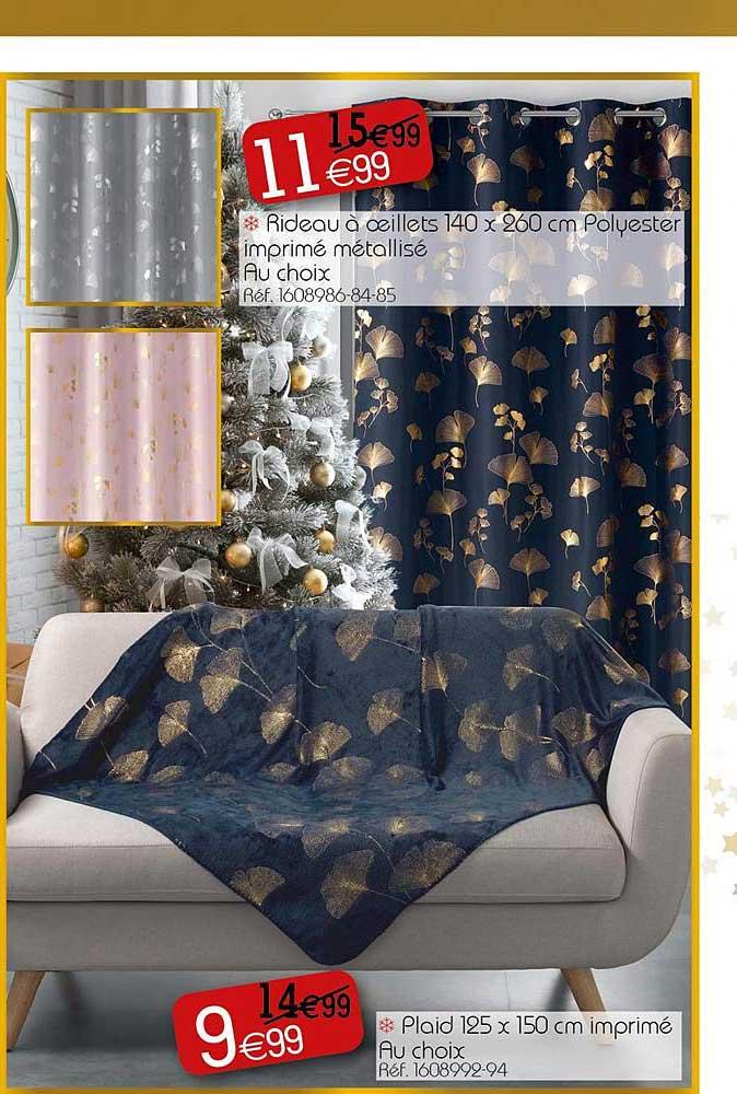 KANDY Rideau à œillets 140 X 260 Cm Polyester Imprimé Métallisé