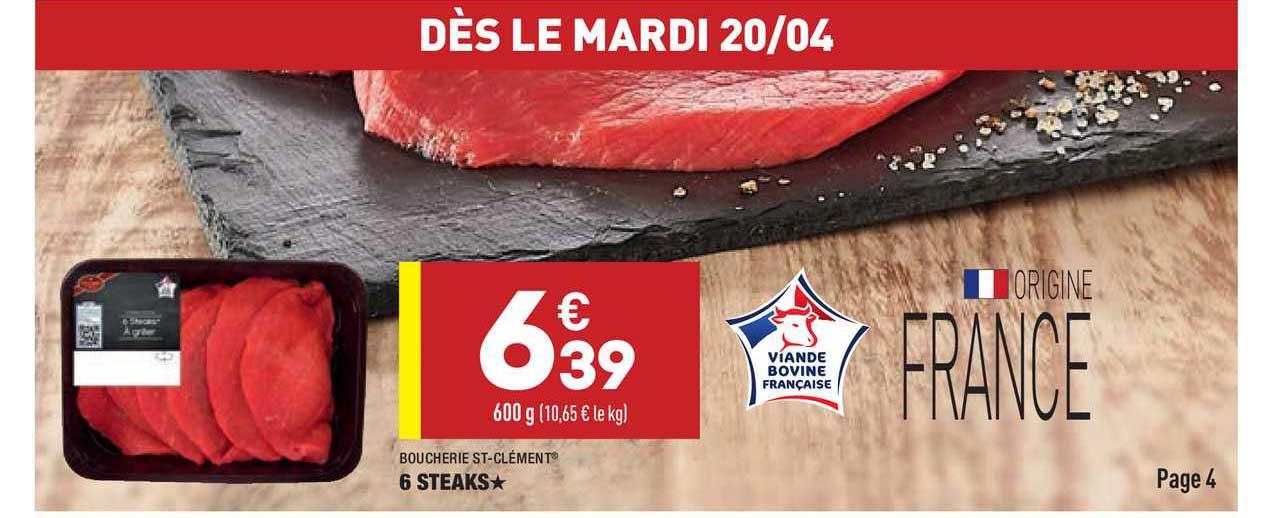 Aldi 6 Steaks Boucherie St-clément