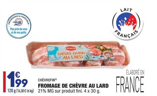 Aldi Fromage De Chèvre Au Lard Chèvrefin