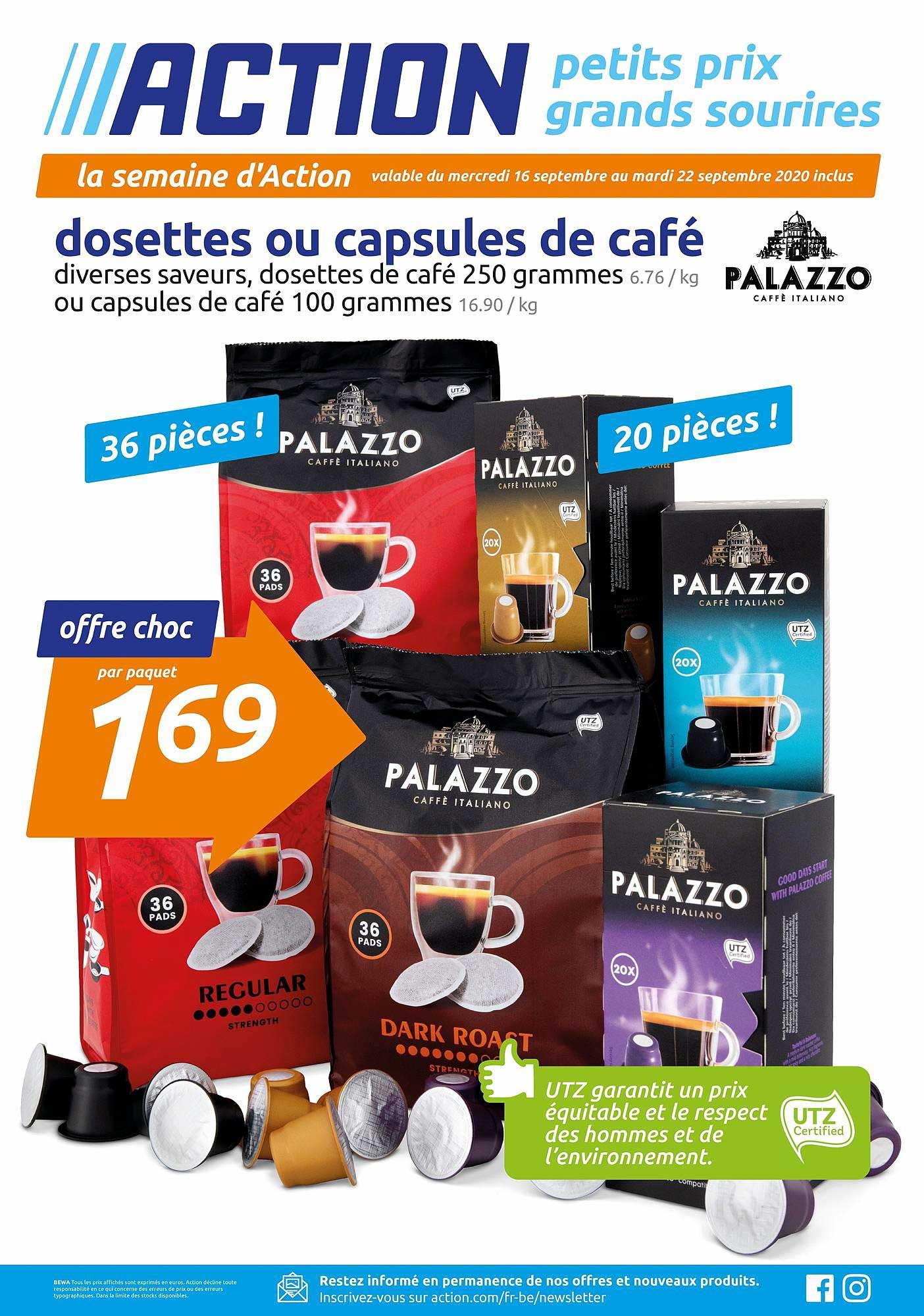Action Dosettes Ou Capsules De Café Palazzo Caffe Italiano