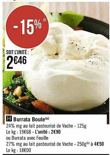 Casino Supermarchés Burrata Boule