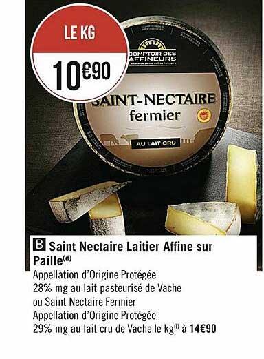 Casino Supermarchés Saint Nectaire Laitier Affine Sur Paille