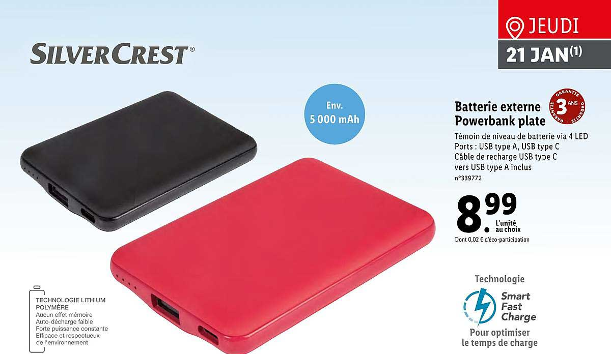 Lidl Batterie Externe Powerbank Plate Silver Crest