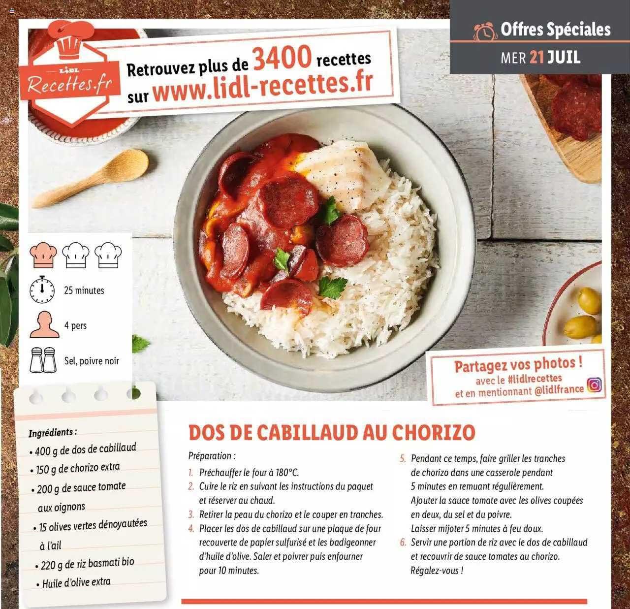 Lidl Dos De Cabillaud Au Chorizo