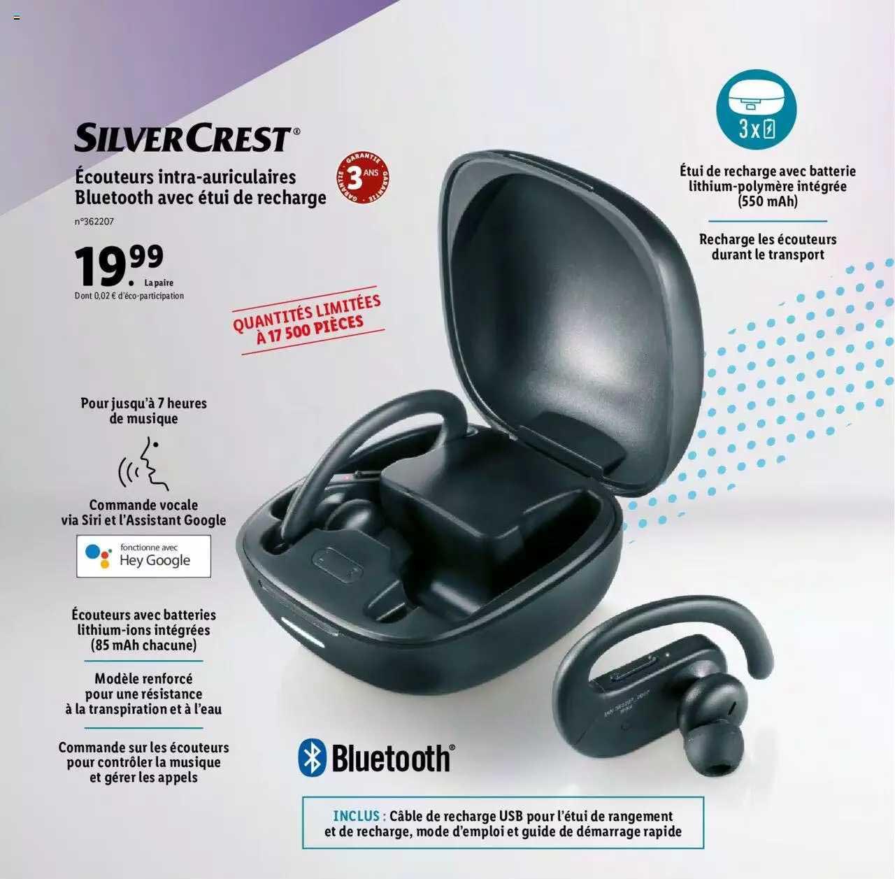 Lidl écouteurs Intra-auriculaires Bluetooth Avec étui De Recharge Silver Crest