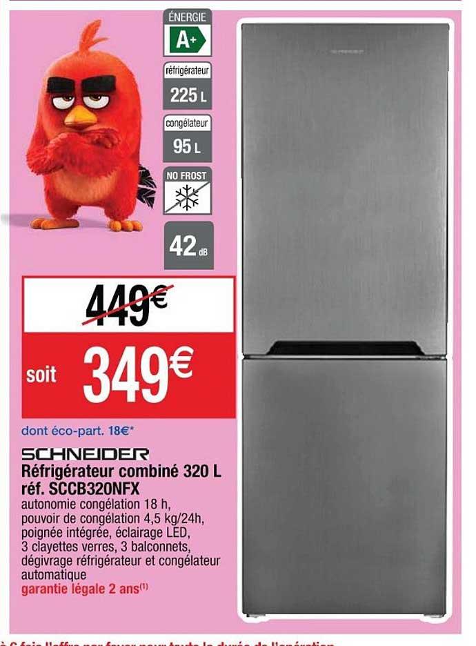 Cora Réfrigérateur Combiné 320 L Réf. Sccb320nfx Schneider