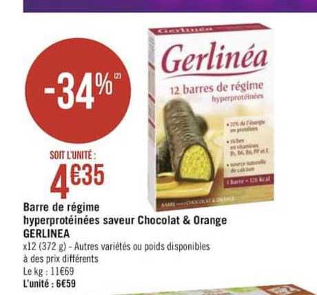Offre Barre De Régime Hyperprotéinées Saveur Chocolat ...