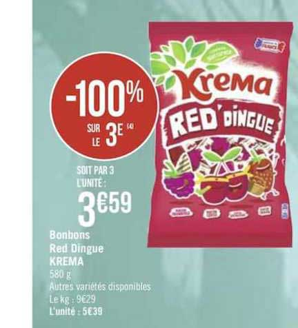 Géant Casino Bonbons Red Dingue Krema -100% Sur Le 3e