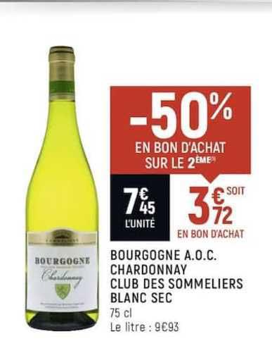 Spar Bourgogne A.o.c. Chardonnay Club Des Sommeliers Blanc Sec