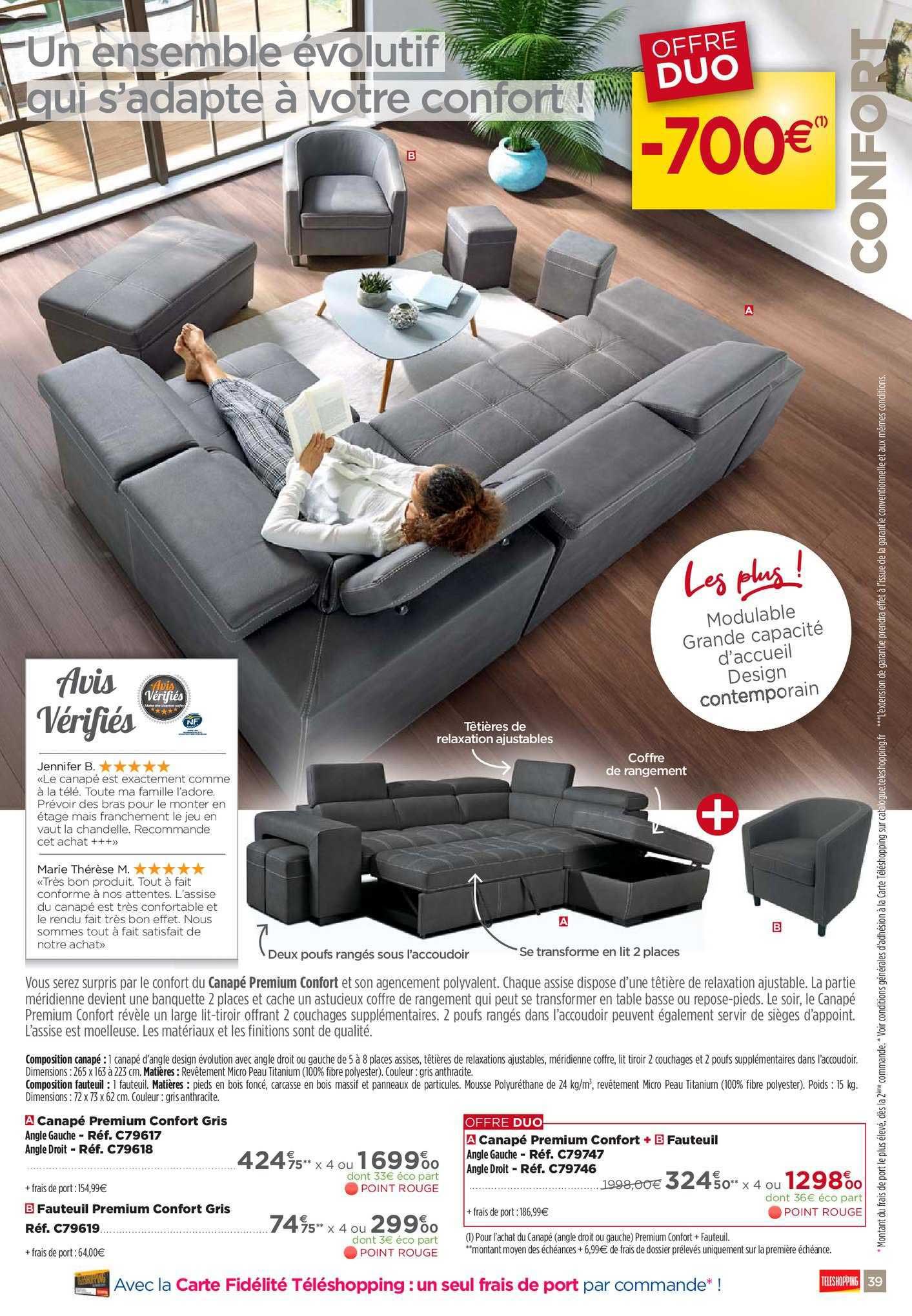 Teleshopping Canapé Premium Confort Fauteuil