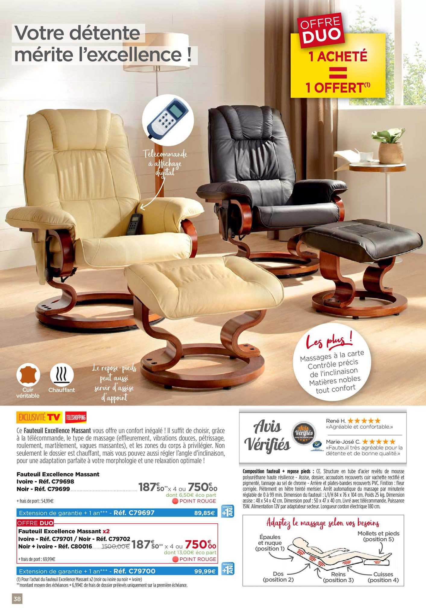 Teleshopping Fauteuil Excellence Massant