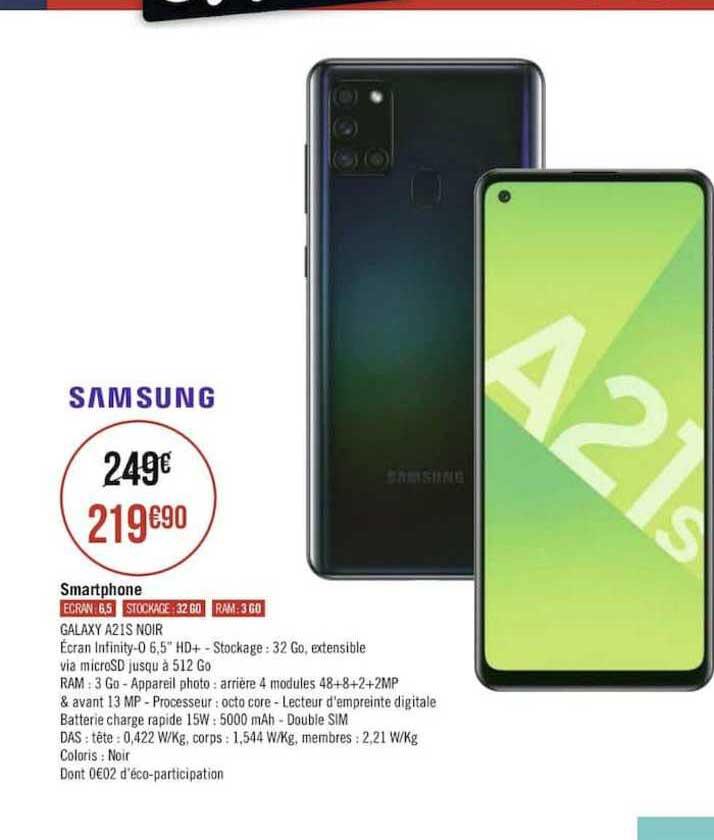Offre Samsung Smartphone Galaxy A21s Noir Chez Geant Casino