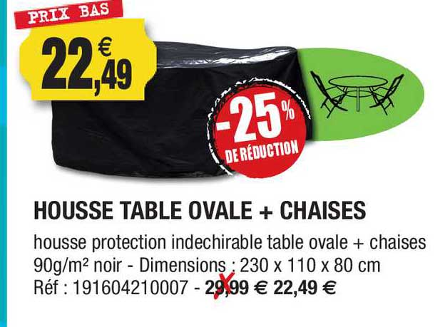Outiror Housse Table Ovale + Chaise -25% De Réduction