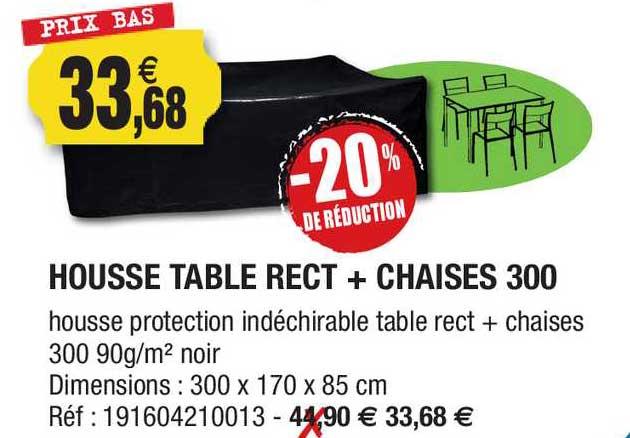 Outiror Housse Table Rect + Chaises 300 -20% De Réduction