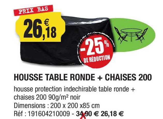 Outiror Housse Table Ronde + Chaises 200 -25% De Réduction