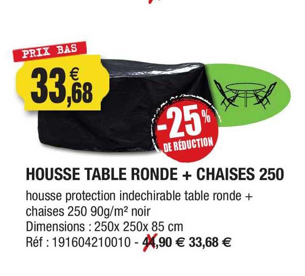 Outiror Housse Table Ronde + Chaises 250 -25% De Réduction