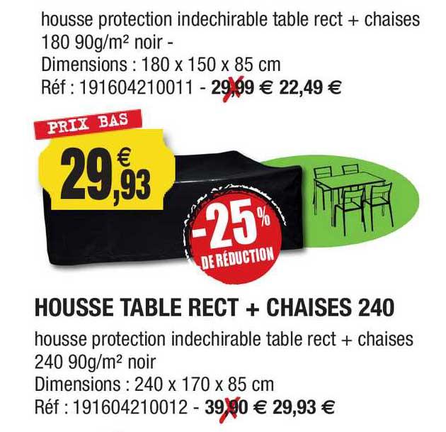 Outiror Housse Tablet Rect + Chaises 240 -25% De Réduction