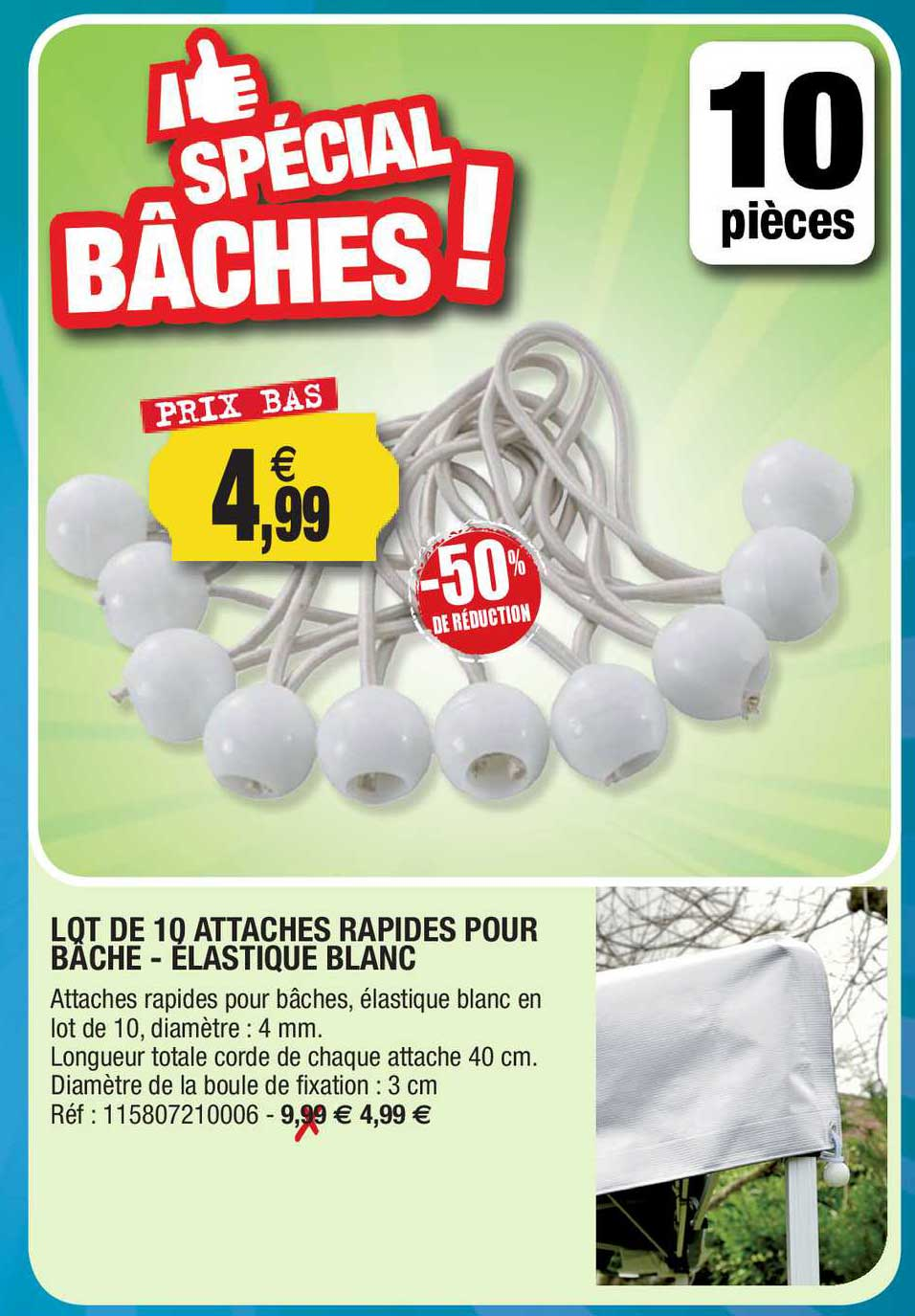 Outiror Lot De 10 Attaches Rapides Pour Bâches - élastique Blanc