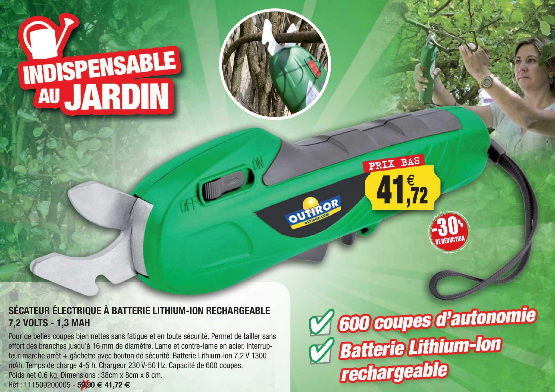 Outiror Sécateur électrique à Batterie Lithium-ion Rechargeable 7.2 Volts - 1.3 Mah