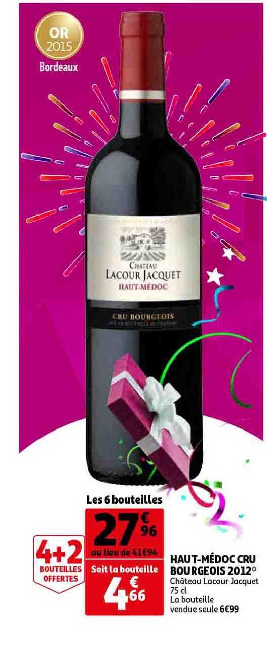 Auchan Direct Haut Médoc Cru Bourgeois 2012 Château Lacour Jacquet 4+2 Offertes