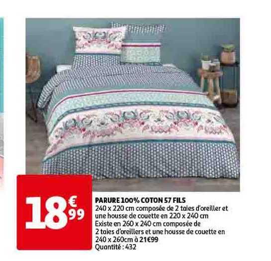 Offre Parure 100 Coton 57 Fils Chez Auchan Direct
