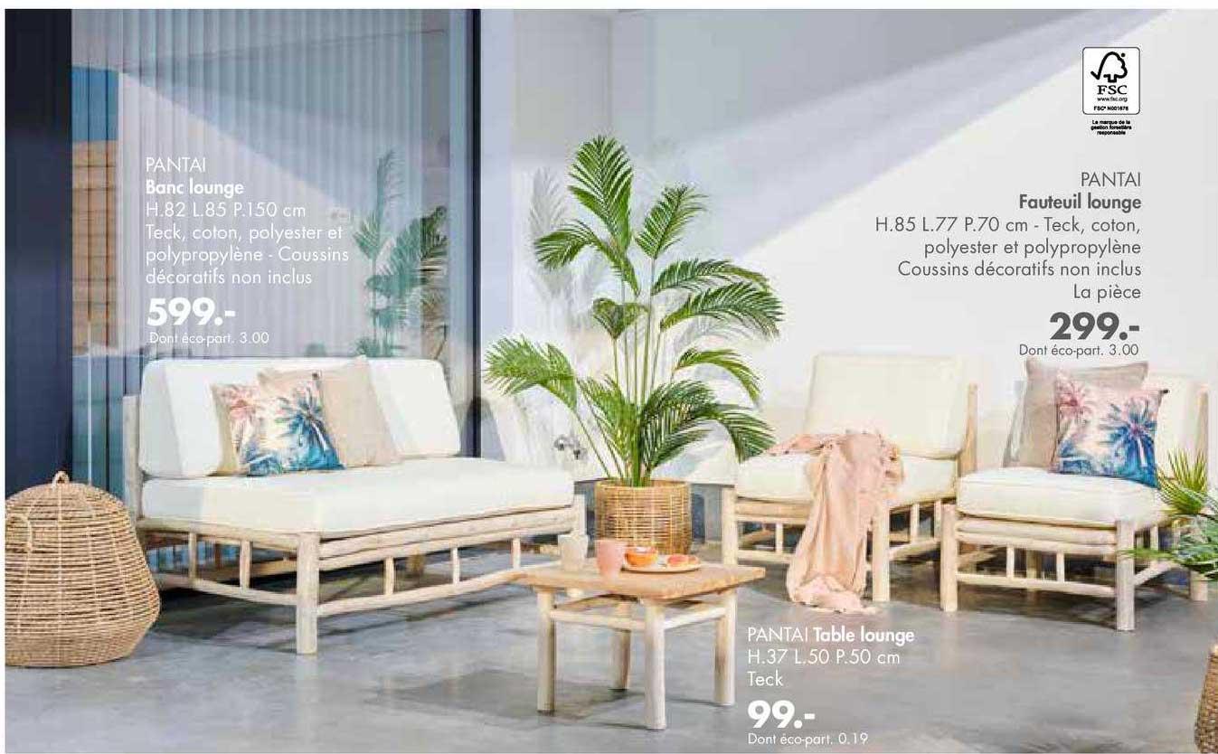 Casa Fauteuil Lounge Pantai, Banc Lounge Pantai