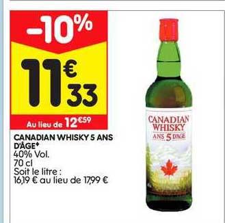 Leader Price Canadian Whisky 5 Ans D'âge