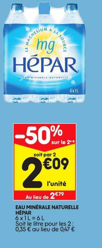 Leader Price Eau Minérale Naturelle Hépar -50% Sur Le 2e