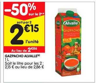 Leader Price Gazpacho Alvalle -50% Sur Le 2e