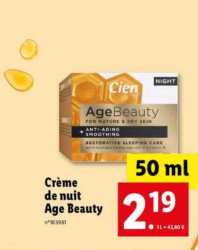 Lidl Crème De Nuit âge Beauty Cien